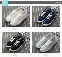 akai - Akai Di Jingdian men and women in autumn and winter solid color canvas shoes white shoes lazy shoes Korean casual shoes lace shoes