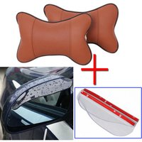 Wholesale 1pc pillow pair mirror eyebrow High Quality PU leather Hole digging Car Headrest Supplies Neck Auto Safety Pillow Newest