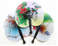 plastic hand fan - Chinese Lady Paper Folding Hand Fans Floral Wedding Bridal Favors Dancing Party Decor Summer Fans Gift