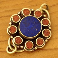 beaded artisan jewelry - Tibetan Jewelry CL232 Nepalese Artisan Handmade Lapis Coral Brass Necklace Clasp x30mm