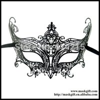 Wholesale MD002 BK Hot Sell Luxury Black Metal Mask Finest Laser Cut With A Rhinestones For Ball
