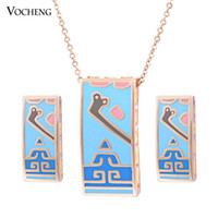 africa shaped earrings - Vintage Square Shape K Gold Plated Colors Copper Metal Africa Enamel Necklace and Erring Set Vs Vocheng Jewelry