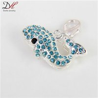 animal charms - New Arrival Fashion Animal Jewelry Four Colors Crystal Charm Silver Plated Dolphin shape Charms