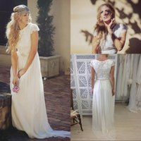 A-Line Reference Images Jewel Modest Bohemian Backless Boho Beach Bridal Dresses Long Short Sleeve Garden Wedding Gowns Cheap 2015 Romantic Ball Dress Sexy Summer Lace