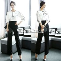 Cheap Hot Sale Europe and America High Waist Pencil Pants Black And White Business Suits Formal Office Suits Work Wear Women Clothing Sets