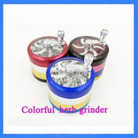pocket parts - Color Metal Alloy Tobacco Herb Grinder Pocket Parts layer Aluminum Spice Pollen Grinder Crusher Hand Crank E Cigarette