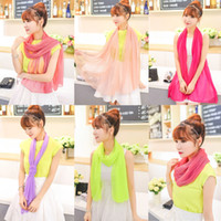 Wholesale Summer Womens Candy Scarf Shawl Ladies Girls All match Fluorescent Crystal Yarn Scarves Neckerchiefs for gifts