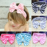 Wholesale 2015 new baby infant big bow headbands Fringe elastic hairbands multi color fashion striped headwrap bowknot headband for girls free ship