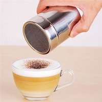 Wholesale Stainless Steel Cocoa Powder Sugar Chocolate Shaker Duster Coffee Cappuccino Latte Sifter Lid Silver Coffee Cappuccino Duster x cm