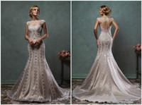 Cheap Champagne Modest Bateau Wedding Dresses 2016 Amelia Sposa Cap Sleeves Applique Sheer Back Illusion Wedding Bridal Gowns Court Train Button
