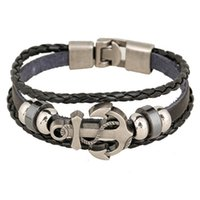 anchor chain manufacturers - A Custom Beaded Bracelets Europe United States Anchors jewelry punk new leather bracelet manufacturers outfit