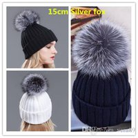 Wholesale Winter brand fur hat for women men wool knitted Beanie Hat with Silver fox fur pom poms cm muticolors free size snow cap Hip Hop Skullies