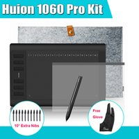 Wholesale New HUION Pro Digital Graphic Tablets Drawing Tablet Kit quot Liner Bag Protective Film Parblo Glove Extra Nibs
