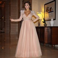 apple red wedding - 2016 Myriam Fares Long Sleeves Evening Prom Dresses Saudi Arabia Bling Beading Blush Pink Tulle Wedding Party Prom Celebrity Gowns Plus Size