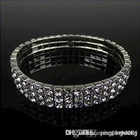 bling jewelry - 2015 Party Gift Hot Sale Row Bling Bling Rhinestone Stretch Bangle Wedding Bracelet Bridal Jewelry Accessories
