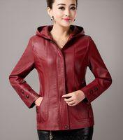 Wholesale Short Leather Jacket Hood - Wholesale-Plus size leather jacket women 2015 new with a hood leather coat women short motorcycle leather clothing female outerwear black