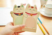Wholesale New Cute Lucky cats memo pad shape Notepad cartoon stickers Paper sticky note colors dandys