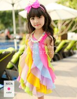 bohemian clothes - Hot Summer Baby Girl Dress Children Party Dresses Vestidos Kids Clothes Bohemian Sexy Beach Dress Rainbow Color One Piece