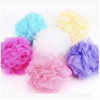 bath mesh scrubber - By DHL Mesh Pouf Sponge Bathing Spa Shower Scrubber Ball Colorful Bath Brushes Sponges Stock Ready