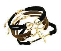 Wholesale Infinity Leather Braided Bracelet Mix Shape Cross Handmade Charm Bracelets Vintage Fashion Jewelry For Women