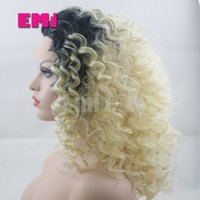 best black tights - Fashion Natural Tight Kinky Curly Best Quality Heat Kanekalon Resistant Synthetic Hair Black Women Wigs Ombre Color Long Deep Wave Hair Wigs