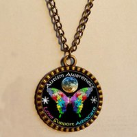 autism puzzle necklace - Autism Awareness Puzzle Piece Moon Pendant necklace Space Art glass Fashion Jewelry Chain gift vintage