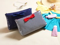 Wholesale Stripe bow wave point Oversized coated waterproof toiletry bags swimsuit package