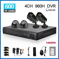 al por mayor sistemas de circuito cerrado de televisión nube-1 TB de disco duro con la cámara de seguridad 600TVL Red móvil P2P Nube vista remota de 4 canales CCTV DVR de 4 canales AHD 960H DVR Kit 4pcs