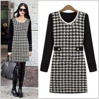 houndstooth dress - 2014 Fashion Long Sleeves Women Dresses Winter Slim Houndstooth Beaded Plaid Patchwork Bottom Women Dress Plus Size AS1398