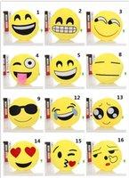 Wholesale DHL free ship Cute Lovely Emoji Smiley Pillows Cartoon Facial QQ Expression Cushion Pillows Yellow Round Stuffed Pillow