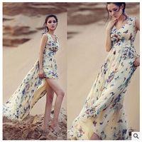 women dress drop ship - 10pcs Fashion Women Summer Long Dress Sexy Deep V Chiffon butterfly Floral Printed Evening Party Beach Wear Maxi Dress drop shipping