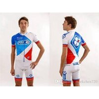 Wholesale summer Newest FDJ Cycling jerseys blue and white short sleeve jerseys cycling jersey sets mountain Cycling suits