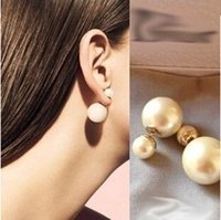 Cheap Wholesale-2015 New Jewelry Fashion Brand Women's Pearl Candy Piercing Statement Wedding Stud Earrings Double Faced Free Shipping