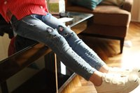 girls skinny jeans - Factory direct sale spring fashion How cute baby clothes girls Cartoon cultivate one s morality jeans Kids jeans
