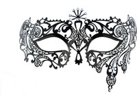 Wholesale Luxury Filigree Black Metal With Rhinestone Venetian Masquerade Masks PHANTOM