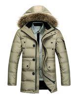 fur collar coat men - 2014 Winter Men s Long Design Down Jackets Coats Mens Fashion Thick Warm Fur Collar Hooded Jacket for Men White goose down