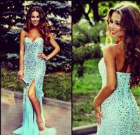 Wholesale Heavy Beading SequinsNewSweetheart Sheath Mermaid Formal Prom Evening Dresses Backless Sweep Train Side Slit Sexy Party Celebrity Gowns