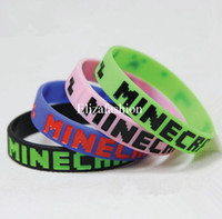 silicone bracelet - Free DHL Minecraft JJ Silicone Wristband bracelet colors Creeper Sport wristband cuff accessories Creeper wristband