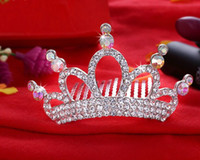 Wholesale Clear crystal Frozen crowns princess queen pageant rhinestone tiara headband little girls hair comb gift hair accessories styles W183