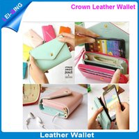 Cheap Leather Crown smart pouch case Best iphone,samsung,HTC For Christmas leather wallet case
