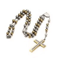 big rosary beads - Religious Gift Rosary Gold Plated Stainless Steel Big Beads Cross Pendant Two Tone Open Arms Charm Inch Necklace