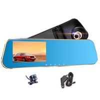 Cheap Novatek 96650 Digital Video Recorder Auto Blue Rear-view Mirror Car Dvr Dual Lens Camera Rearview Mirror With Two Lenses In Cars