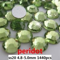 Wholesale 1440pcs peridot ss20 mm crystal glass Rhinestone flatback rhinestones silver foiled