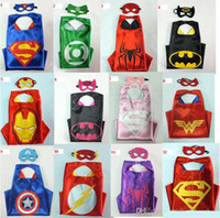 batman lycra - Children Superhero Iron Man Double Side Cape L70 W70CM Kids batman superman cape mask Reversible Superhero Captain America capes masks set