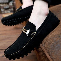 mens shoes - Hand Made Elegant Stylish Cowhide Suede Slip on Casual Shoes Mens Driving Moccasins Flats Loafers Shoes Peas With Buckle High Quality