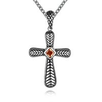 stainless steel cross pendant - Vintage Style crucifix cross with gemstone and Stainless Steel cross pendant Necklace religious Jewelry N00054