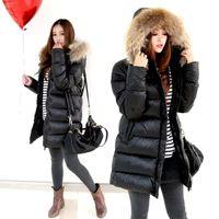 Cheap best discount Winter fur collar Woman Long Down coat Faishon Style 90%White Duck