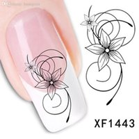 beautiful watermarks - Fashion beautiful DIY watermark cute black flower D Design Tip Nail Art Nail Sticker Nail Decal Manicure nail tools