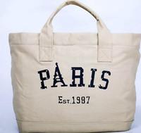 Wholesale Ladies new PARIS large capacity canvas shoulder aslant bag women fashion shopping bag Tote bag B1665