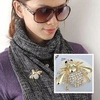 Wholesale Fashion Rhinestone Brooch Jewelry Lovely Bee Shape Brooches Jewelry Accessories BX009
